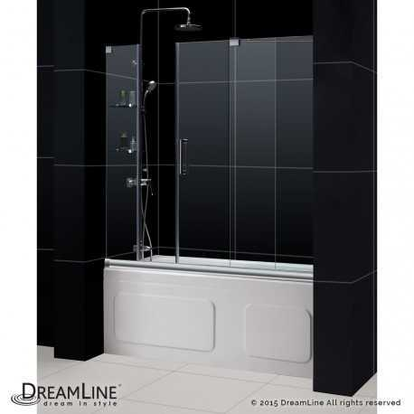 Mirage 56 to 60 in. Sliding Tub Door with Glass Shelves