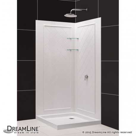 SlimLine 32 - 36 in x 32 - 36 in Double Threshold Shower Base and QWALL-4 Shower Backwall Kit