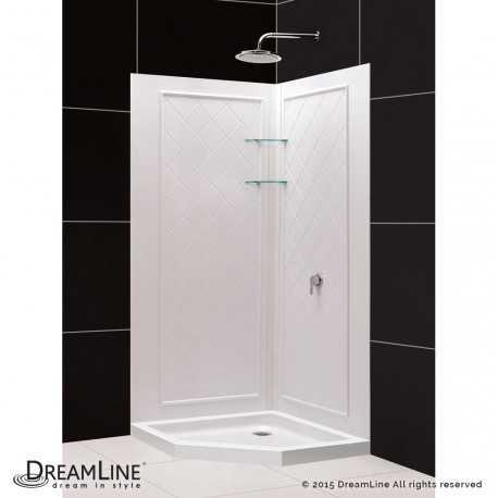 SlimLine 36 - 42 in x 36 - 42 in Neo Angle Shower Base and QWALL-4 Shower Backwall Kit