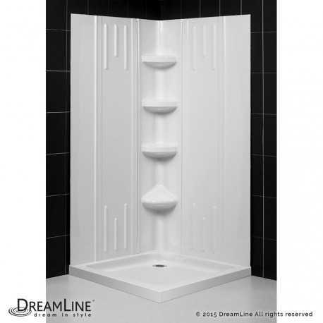 SlimLine 32 - 36 in x 32 - 36 in Double Threshold Shower Base and QWALL-2 Shower Backwall Kit