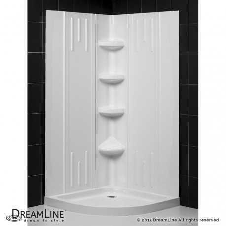 SlimLine 33 - 38 in x 33 - 38 in Quarter Round Shower Base and QWALL-2 Shower Backwall Kit