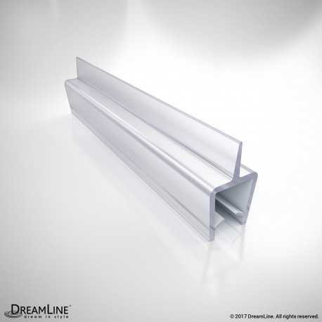 "Clear Vinyl Seal with a Flexible Fin, 96"" Length, A305BB-10, for 10 Thick Glass Shower Door"