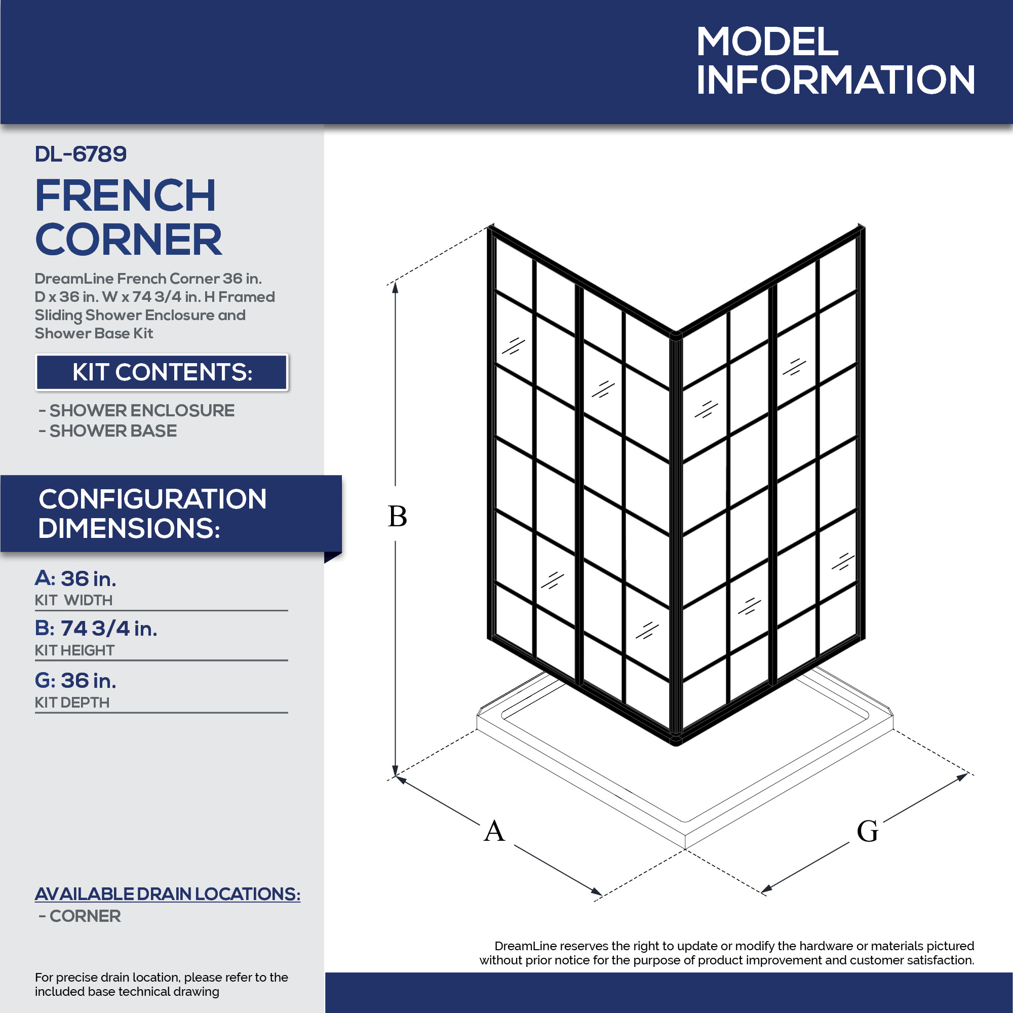 Picture of: Dreamline Dl 6789 French Corner 36 French Corner Shower Enclosure And Shower Base Kit Qualitybath Com