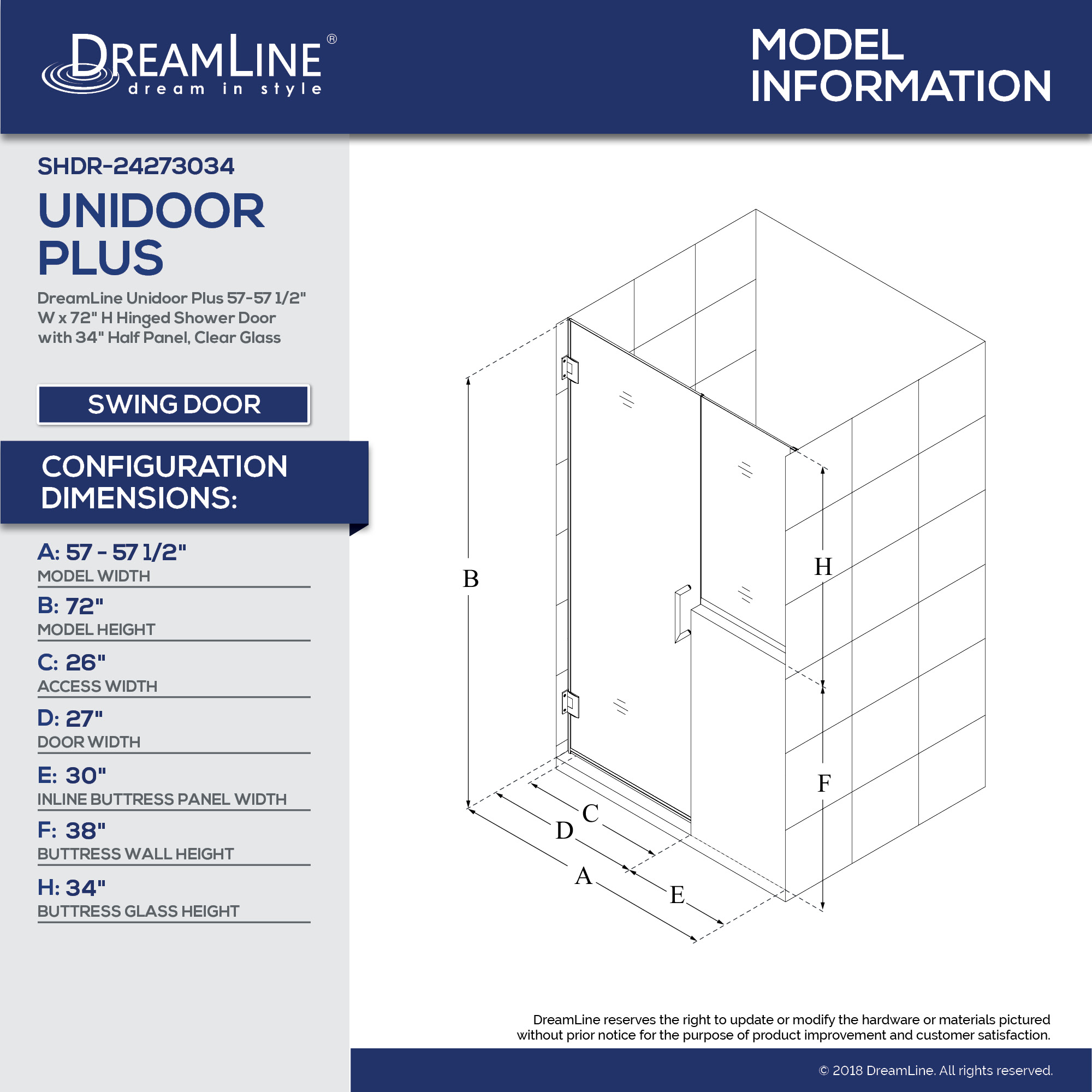 Technical Drawings  sc 1 st  Dreamline & Unidoor Plus 57 - 60 1/2 Hinged Shower Door 30 in. Buttress Panel ...
