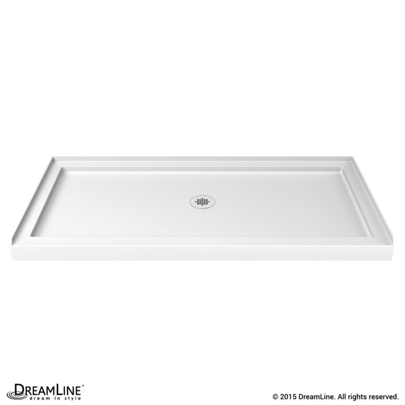 Transolid FL6034L-38 Linear 60-in x 34-in Rectangular Alcove Shower Base with Left Hand Drain Biscuit