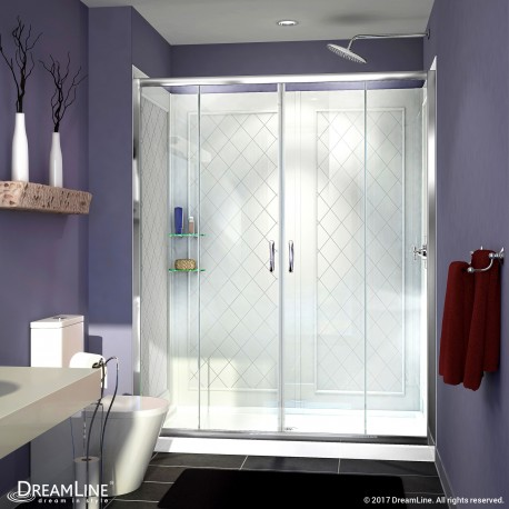 Visions Sliding Shower Door, Base & Backwalls