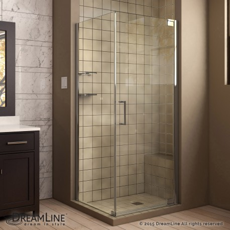 Elegance Pivot Shower Enclosure with Glass Shelves