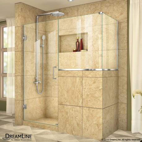 Unidoor Plus 47 - 48 in. x 30 3/8 - 40 3/8 in. Hinged Shower Enclosure, 18 in. Inline Buttress Panel