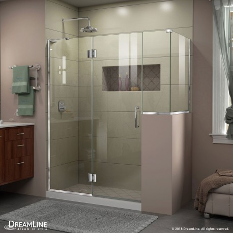 Unidoor-X 59 - 60 in. x 30 3/8 - 40 3/8 in. Hinged Shower Enclosure, 12 in. Inline Buttress Panel