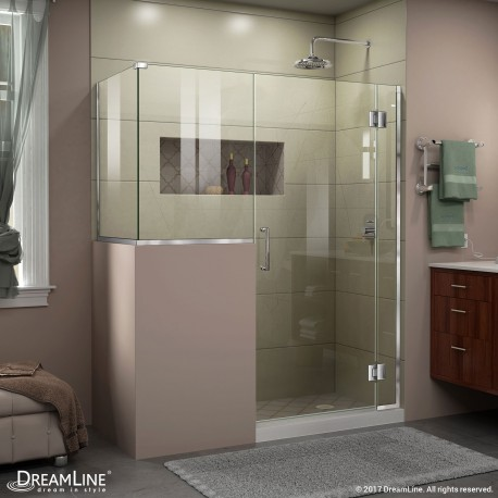 Unidoor-X 47 - 48 in. x 30 3/8 - 40 3/8 in. Hinged Shower Enclosure, 18 in. Inline Buttress Panel