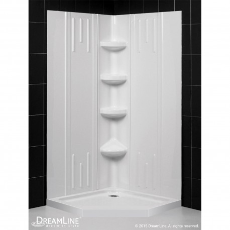 SlimLine 36 - 42 in. x 36 - 42 in. Neo-Angle Shower Base and QWALL-2 Shower Backwall Kit