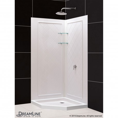 SlimLine 36 - 42 in. x 36 - 42 in. Neo-Angle Shower Base and QWALL-4 Shower Backwall Kit