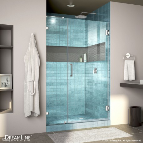 "Unidoor Lux Shower Door with L-Bar, 14"" Inline Panel"