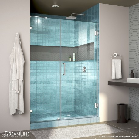"Unidoor Lux Shower Door with L-Bar, 22"" Inline Panel"