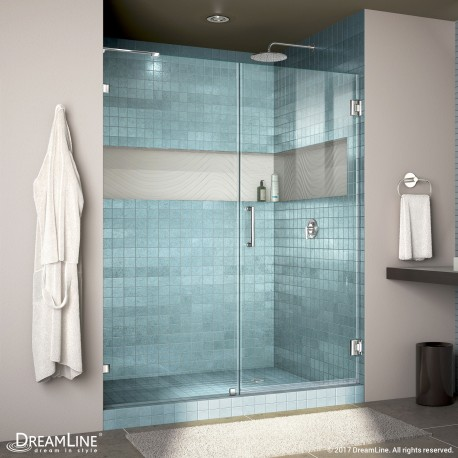 "Unidoor Lux Shower Door with L-Bar, 30"" Inline Panel"