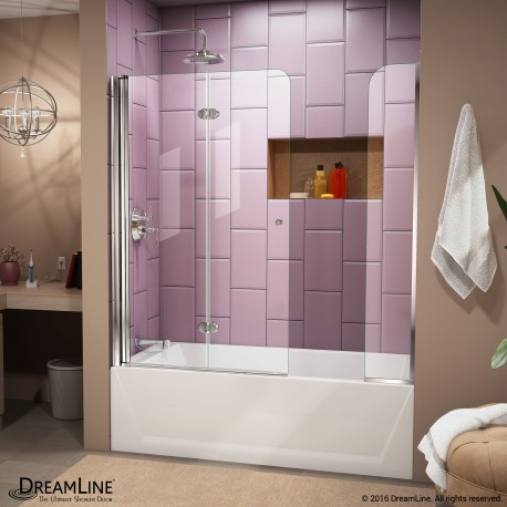 Aqua Fold Bi-Fold Tub Door with Extender Panel