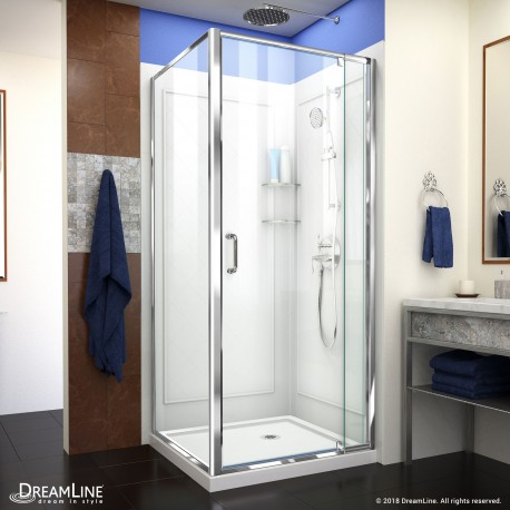Flex Shower Enclosure, Backwall & Base Kit