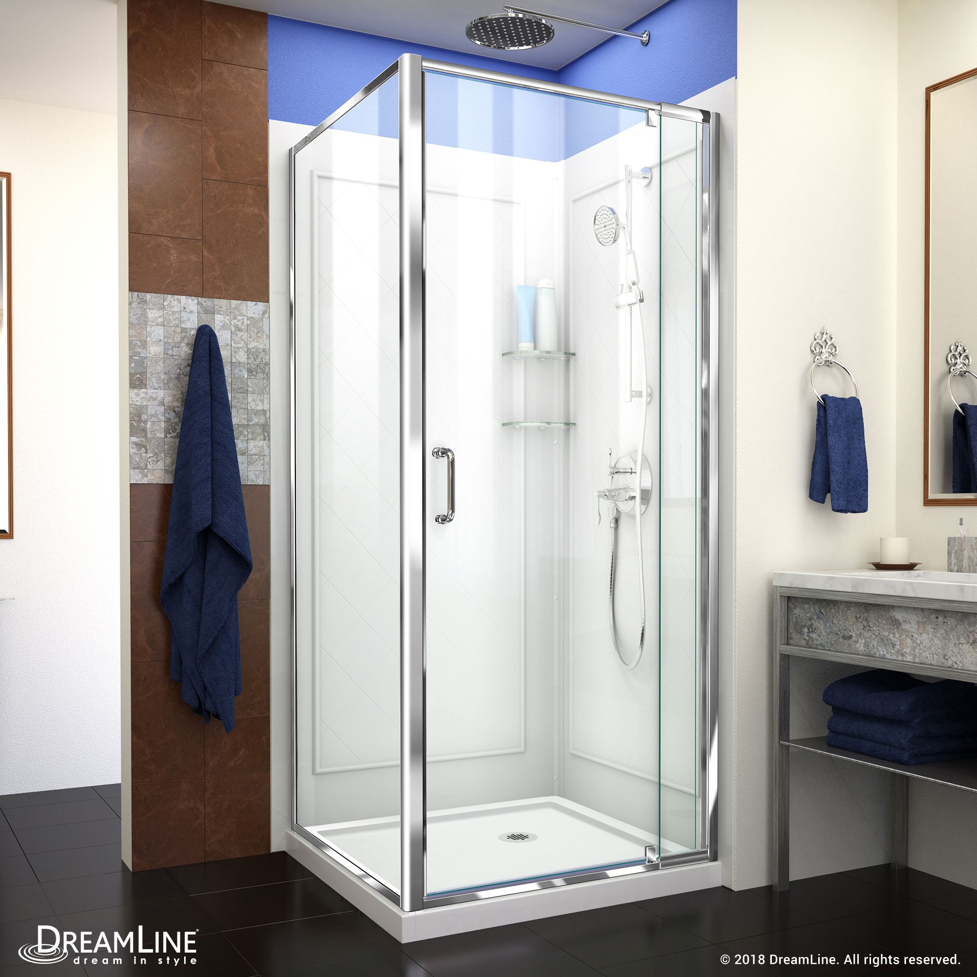 Pivoting Shower Door Track Assembly Kit in Chrome 36 in