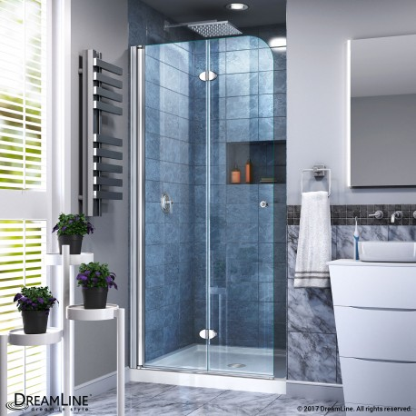 Aqua Fold Bi-Fold Shower Door with Shower Base in White