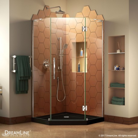 Prism Plus Shower Enclosure and Black Shower Base Kit
