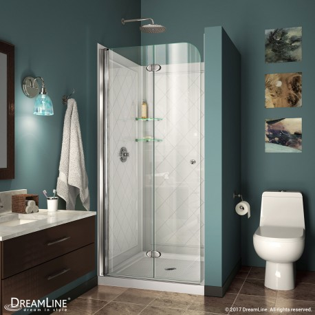 Aqua Fold Bi-Fold Shower Door with Base & Backwall Kit