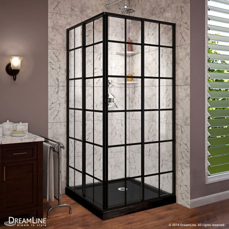 French Corner Sliding Shower Enclosure and Base