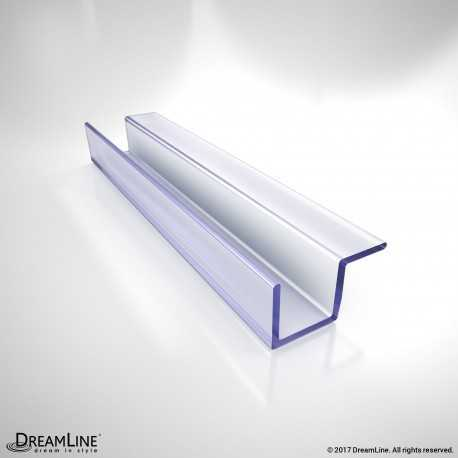 DreamLine JT037-10, Clear Return Panel Striker, 96 in. Length, for 3/8 in. (10 mm.) Glass Shower Door