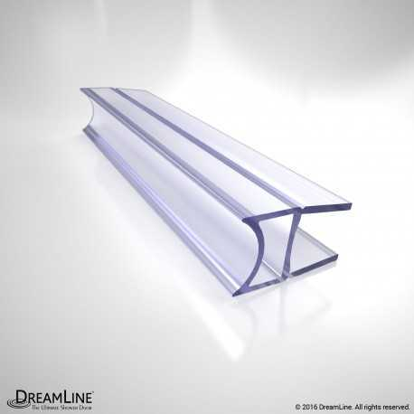 "Clear Inline Bumper Strike, 76"" Length, JT056-10, for 10 Thick Glass Shower Door"
