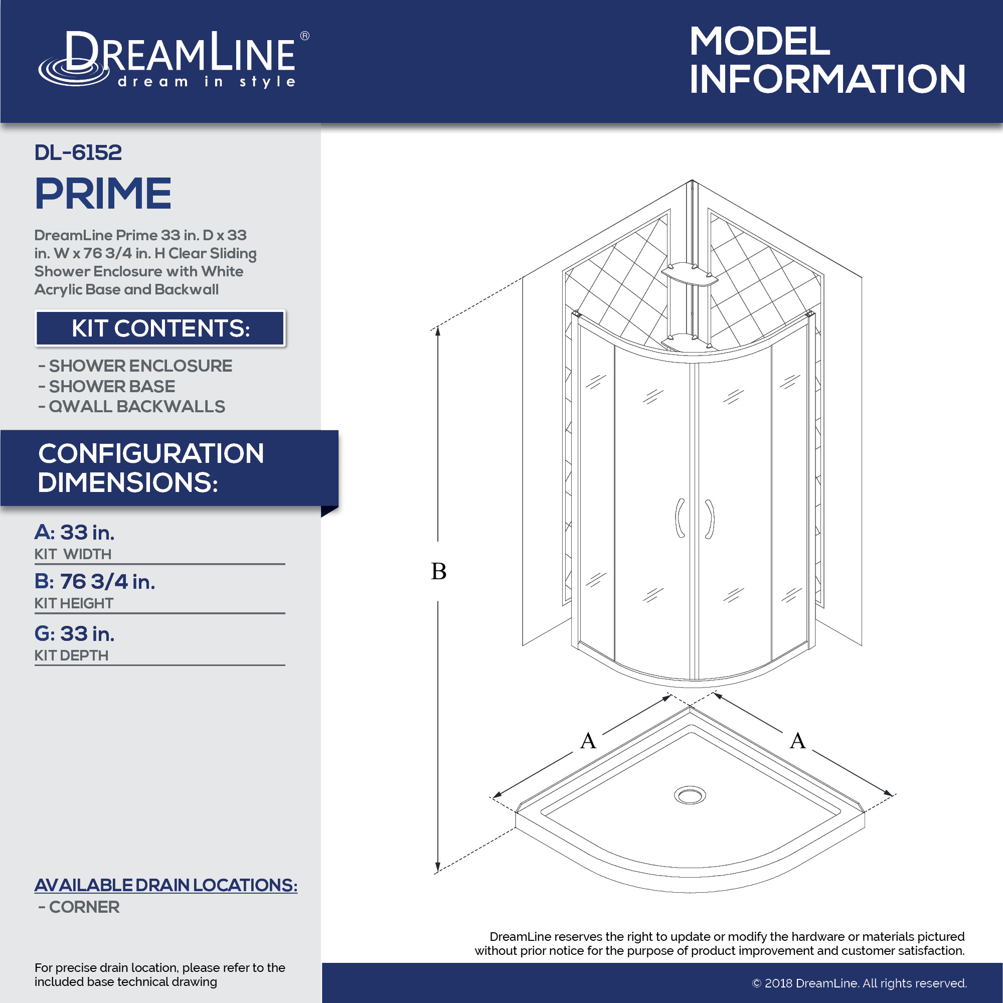 Prime Sliding Shower Enclosure, Base & Backwall Kit - Dreamline
