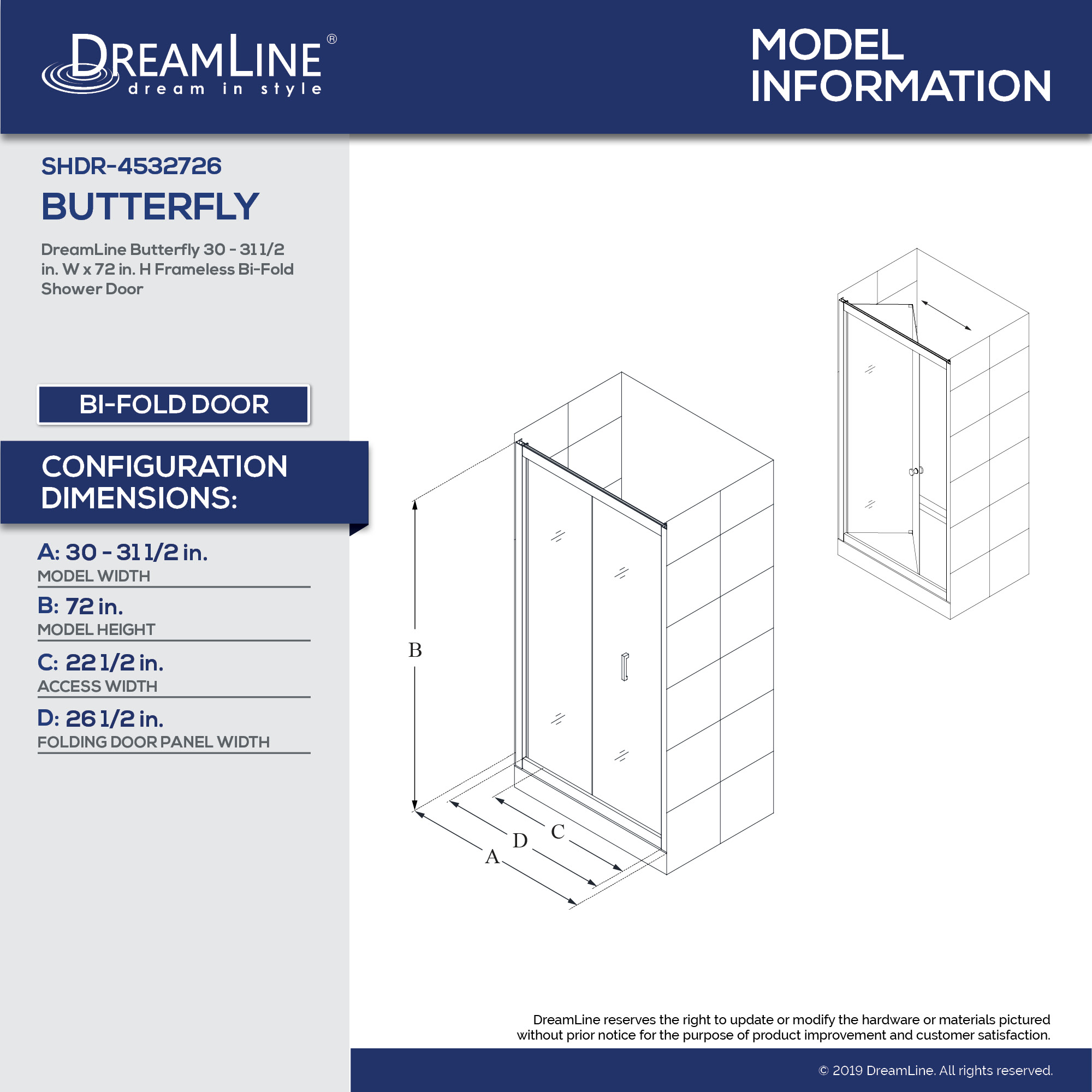 Butterfly Bi Fold Shower Door Dreamline