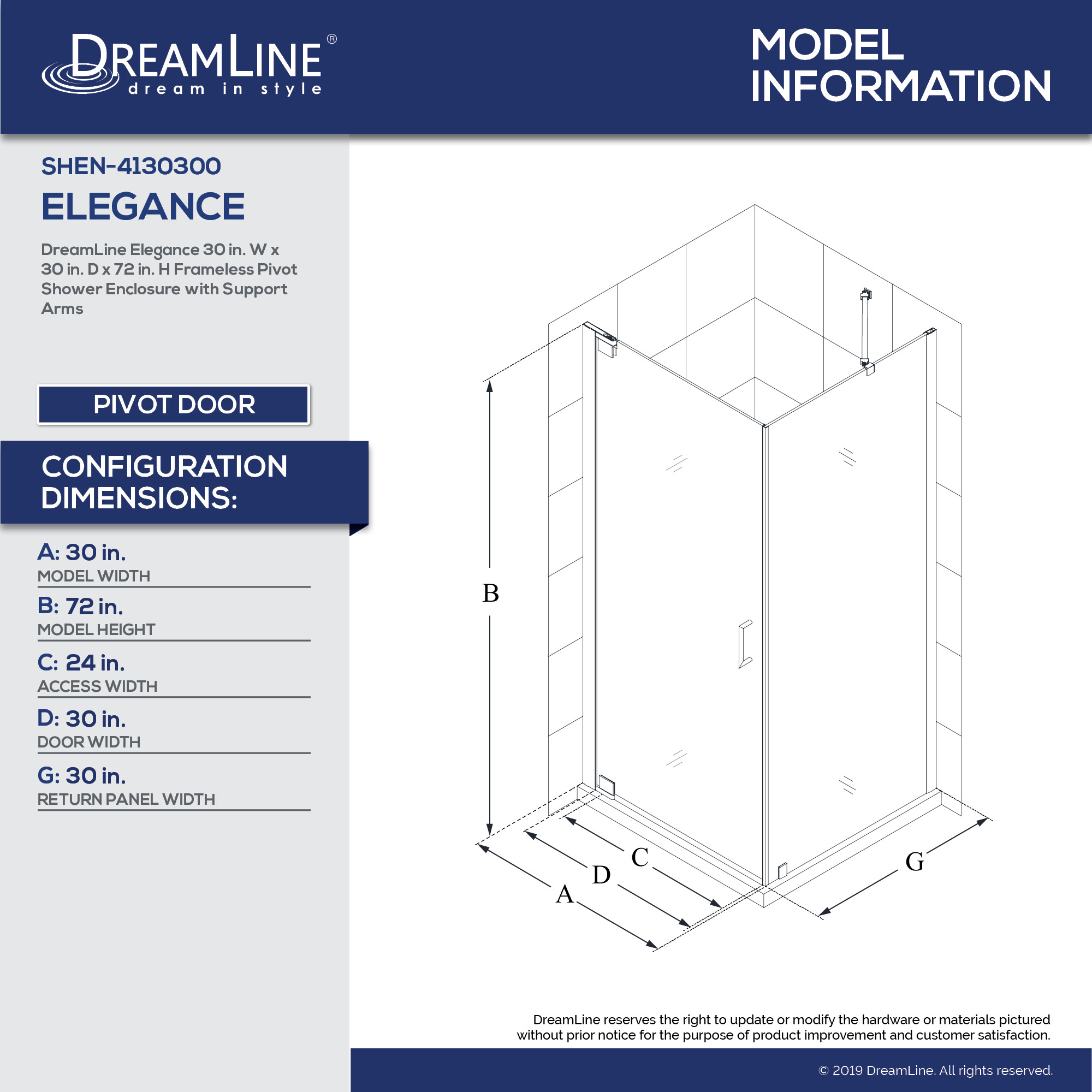 Elegance Pivot Shower Enclosure Dreamline